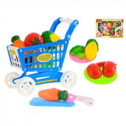 Wózek sklepowy 22x27x15 cm z warzywami w WBX