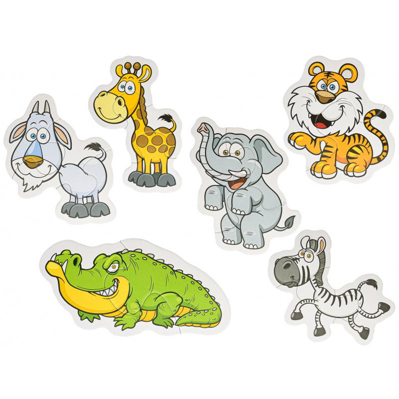 Puzzle zwierzęta safari 16 elementów 18x13 cm 6 wzorów w pudełku