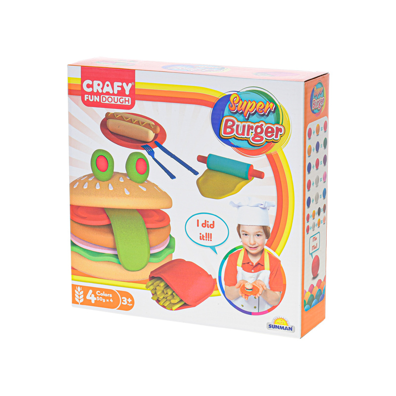 Zestaw plastelin 4x50g z akcesoriami burger