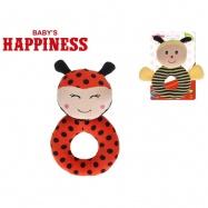 Hrkálka plyšové 14cm Baby's Happiness 2druhy 0m + na karte v sáčku