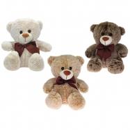 Medveď plyšový 32cm sediaci s mašľou 3barvy 0m +