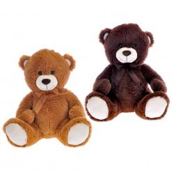 Medvěd plyšový 40cm sedící s mašlí 2barvy 0m+ v sáčku