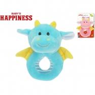 Chrastítko plyšové dráček 14cm Baby\'s Happiness 0m+ 2barvy na kartě