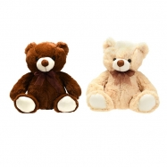 Medvěd plyšový 31cm sedící s mašlí 2barvy 0m+ v sáčku