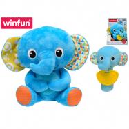 Plyšový kamarád 21 cm slon sedící s chrastítkem a kousátkem slůně 16 cm 6m+ v krabičce