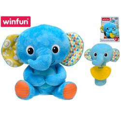 Plyšový kamarát 21 cm slon sediaci s hrkálkou a hryzátkom sloníča 16 cm 6m + v krabičke