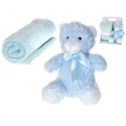 Medveď plyšový 22cm sediaci s detskou dekou 100x75cm v krabičke