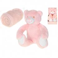 Medvedík plyšový 26cm sediaci s detskou dekou 75x75cm v krabičke