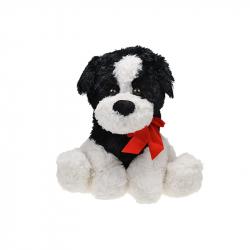 Pes plyšový 38cm sediaci s mašľou 0m+ čierny v sáčku