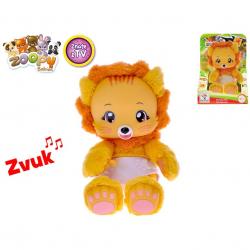 Zoopy Babies  lvíček plyšový 24cm tlapky svítící ve tmě na baterie se zvukem 12m+ v krabičce