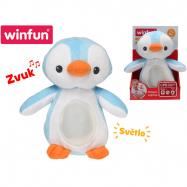 Lampička tučňák 22 cm plyšový stojící měnící barvu na baterie se světlem a ukolébavkou 0 m+