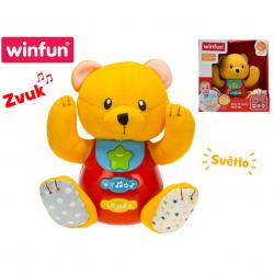 Medvídek 18 cm sedící na baterie se světlem a zvukem 3 m+ v krabičce