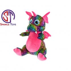Drak Star Sparkle plyšový růžový 29cm sedící 0m+ v sáčku
