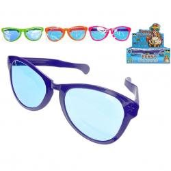 Plastikowe okulary przeciwsłoneczne 26cm 4 wzory (różowy,pomarańczowy,fioletowy,zielony) 12 szt. w d