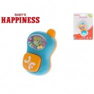 Chrastítko telefonek 9cm s kuličkami Baby´s Happiness 2barvy 3m+ na kartě