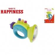 Hrkálka trumpetka 12cm Baby's Happiness 3m + na karte