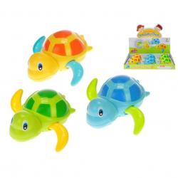 Plasiikowy nakręcany pływający żółw 12cm 3 wzory (żółty,niebieski,zielony) 6 szt. w displayu