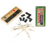 Domino 28ks + mikado v dřevěné krabičce na kartě