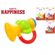 Chrastítko trumpeta 9cm Baby\'s Happiness 3m+ 4barvy na kartě