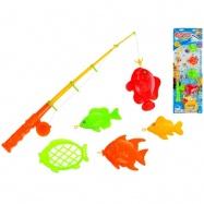 Hra rybář - rybářský prut 41cm+ rybičky 2barvy na kartě
