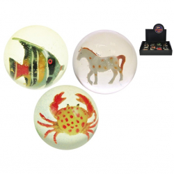Piłka kauczukowa ze zwierzętami 7cm 8 wzorów 12 szt. w displayu