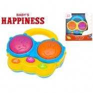 Bubny 13cm na baterie se světlem a zvukem Baby´s Happiness 18m+ 2barvy v krabičce