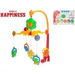 Kolotoč nad postieľku medvedíky 58x48cm na batérie so zvukom Baby's Happiness 3m + v krabičke