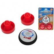 Air hokej puk 9cm + 2 hokejky na baterie v blistru
