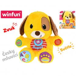Puppy naučný pejsek 33 cm česky mluvící na baterie se světlem a zvukem 6 m+ v krabičce