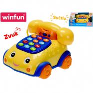Telefonek 16 cm naučný žluto-modrý 2 funkce na baterie se světlem a zvukem 12 m+ v krabičce