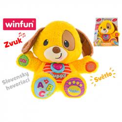 Pluszowy uczący pies 33 cm z dźwiękiem i światłem Słowacka wersja