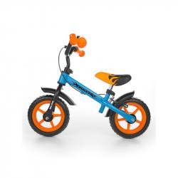 Detské odrážadlo bicykel Milly Mally Dragon s brzdou orange-blue