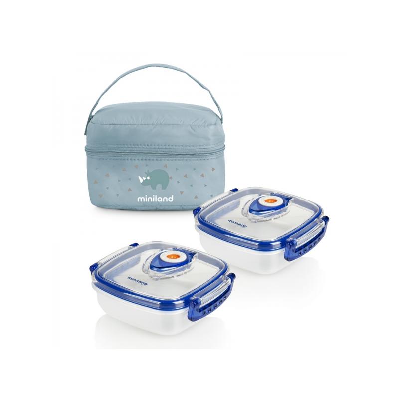 Termoizolační pouzdro + 2 hermetické misky na jídlo Blue