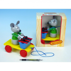 Myš s xylofónom drevo ťahacie 20cm v krabičke