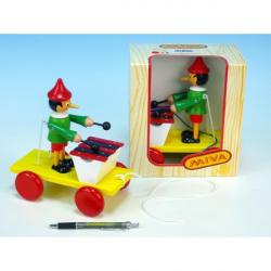 Pinocchio s xylofónom ťahacie drevo 20cm v krabičke