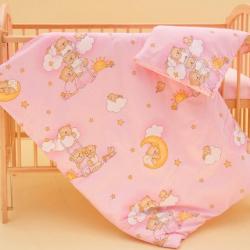 Komplet poszewek na pościel do łóżeczka Chmurka - różowy