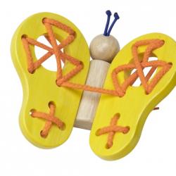 Dřevěný provlékací motýl žlutý