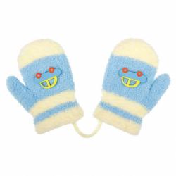 Detské zimné rukavičky New Baby s autom svetlo modré