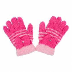 Detské zimné froté rukavičky New Baby tmavo ružove