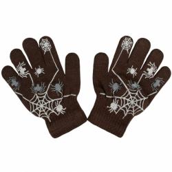 Detské zimné rukavičky New Baby s pavúkom hnede