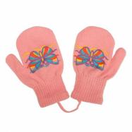 Detské zimné rukavičky New Baby s motýlikom ružove