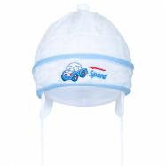 Pletená dětská čepička New Baby Speed bílo-modrá