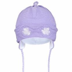 Pletená dětská čepička New Baby medvídci fialová