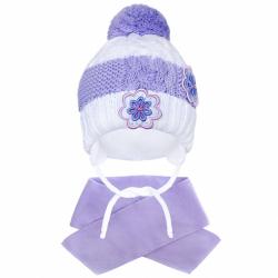 Zimní dětská čepička se šálou New Baby květinky fialová