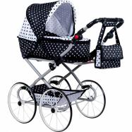 Dětský Retro kočárek pro panenky 2v1 New Baby Natálka bílo-černý
