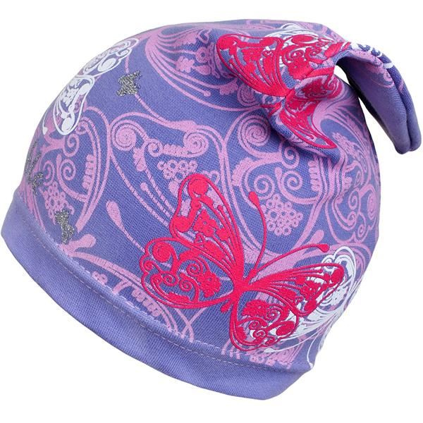 Jarná detská čiapočka New Baby motýle fialová