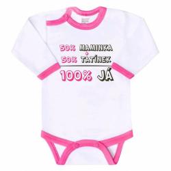 Body s potlačou New Baby 50% MAMKA + 50% OCKO - 100% JA ružové