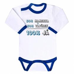 Body s potiskem New Baby 50% MAMINKA + 50% TATÍNEK - 100% JÁ modré