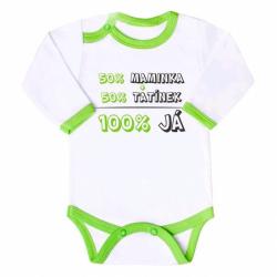 Body s potlačou New Baby 50% MAMKA + 50% OCKO - 100% JA zelené
