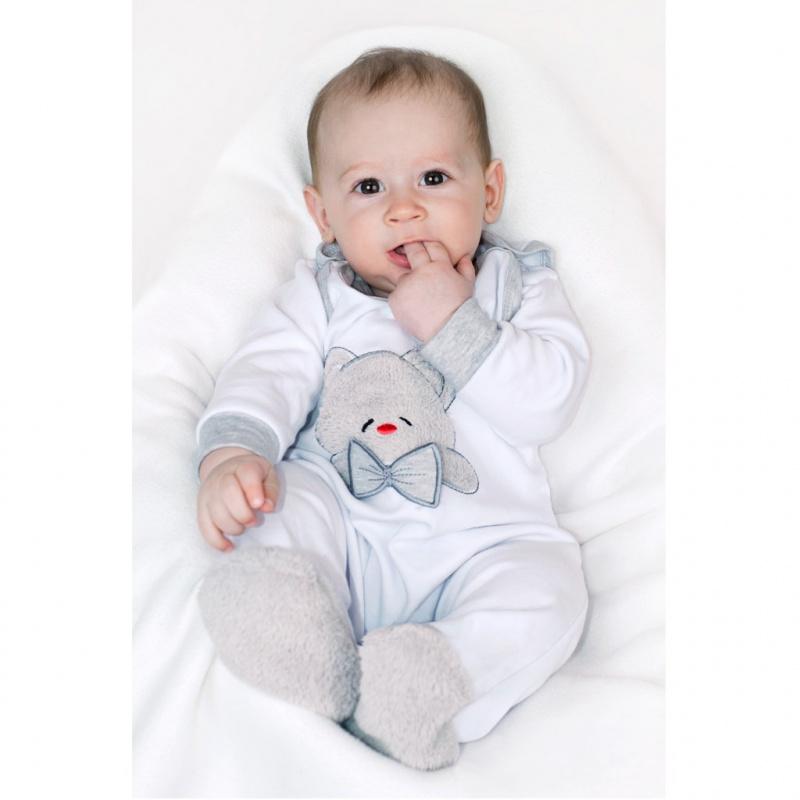 Luksusowe body niemowlęce z długim rękawem New Baby Honey Bear z aplikacją 3D